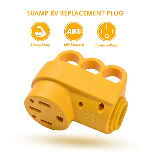 55562 Camco Heavy Duty Locking Female PowerGrip Adapter with Innovative 90 Degree Bend Design 50 AMP Standard Male 50 AMP 18