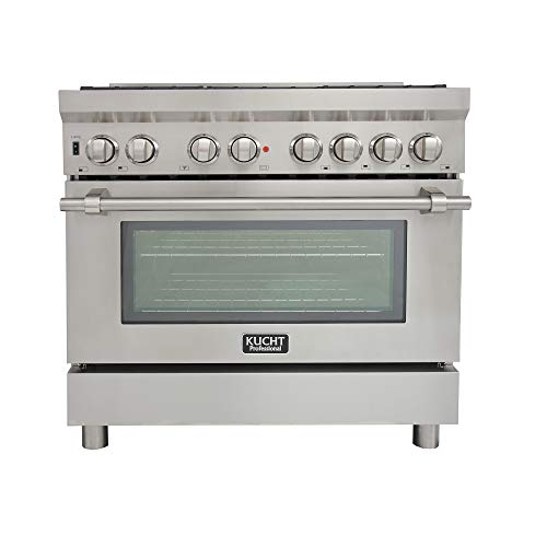 Kucht KPD361F/LP Pro. 36″ 5.2 cu.ft. Dual Fuel Range for Propane Gas with Sealed Burners, Convection Oven in Stainless-Steel