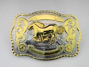 Golden New Big Western Horse Metal Belt Buckle