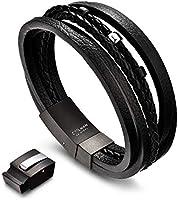 COOLMAN Bracelet pour Homme Multi-Couche de Bracelets Tressés en Cuir Véritable avec Boucle en Acier Inoxydable
