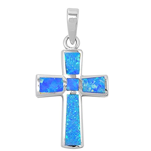 (Oxford Diamond Co Wide Cross Lab Created Opal .925 Sterling Silver Pendant Blue or White Opal (Lab Created Blue Opal) )