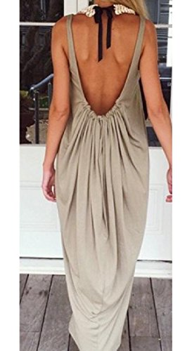 Round Beach Dresses Solid Women Sundress Backless Khaki Neck Casual Coolred SYtqR