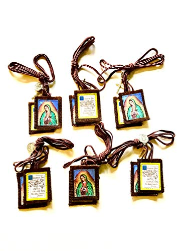 Escapularios Catolicos La Virgen De Guadalupe - Brown Scapulars Catholic Necklace for Women and Men - Scapular with Medal and Crucifix (6)