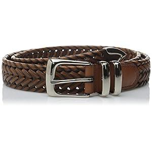 Perry Ellis Men's Portfolio Braided Belt, Luggage, 42
