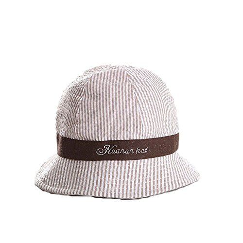 Rejected all traditions Solid 100% Cotton Printed Stripe Bucket Sun Protection Hat for Baby Girls Boys - Coffee