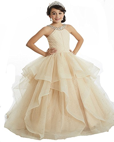 (GreenBloom Girls' Beaded Halter Pleated Bodice Pageant Dresses Ball Gown Birthday Party Gowns 14 Champagne)
