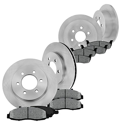 FRONT 308 mm + REAR 312 mm Premium OE 6 Lug [4] Rotors + [8] Metallic Brake (Dodge Dakota Pickup Brake)