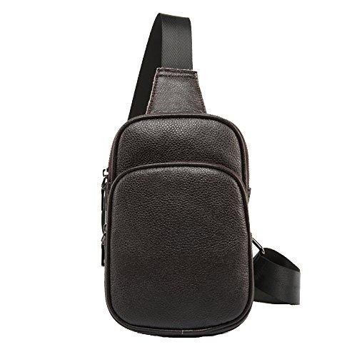 Shoulder Black Sling Genuine Bag Travel Baafg Hiking For Crossbody Men Bags Sport Leather Chest Business Casual Daypack q4Tg4nOa