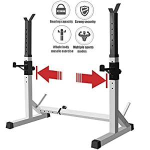 EnweNga Household Multifunction Barbell Rack, Squat Barbell Power Rack Stand Weight Lifting, Indoor Home Gym Folding Strength Training Rack Rack Squat for Household(250Kg Max Load)