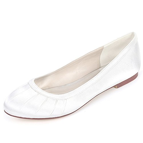 Seda Las L Hecho Mujeres Lace Redonda Toe Cabeza Boda yc bridesmaids Mano Cerrado Fornida Zapatos De 0 Vestido White A Los 6cm wwgZqF