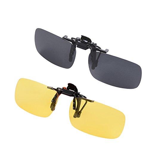 Elqizzx Clip-on Sunglasses, Unisex Polarized Frameless Rectangle Lens Flip Up Clip on Prescription Sunglasses Eyeglass, 2-Piece clip on glasses