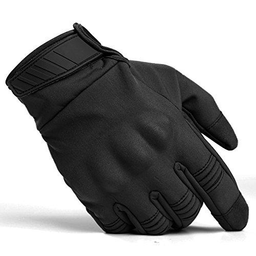 TACVASEN Outdoor Tactical Combat Touch Screen Full Finger Waterproof Motorcycle Gloves Black
