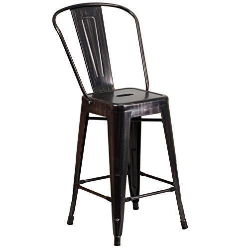 Flash Furniture 24'' High Black-Antique Gold Metal Indoor-Outdoor Counter Height Stool with Back (Antique Counter)