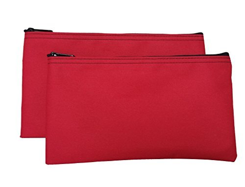 (Travel Zipper Bags (2-Pack) Small, Compact, Portable Zippered Cloth Pouches for Men, Women, Kids | Store Toiletries, Makeup, Cosmetics, Tools, Pencils | Red)