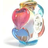 Sterling Silver Infinity Love Goes Round Rainbow Heart Glass Bead for European Chamilia Biagi Troll Pandora Charm Bracelets