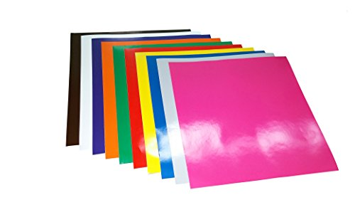12 Inch X 12 Inch Glossy Vinyl Sheet(s) (10 Sheet, Primary Colors) for Vinyl Decals Craft Die Cutter Machine Plotter