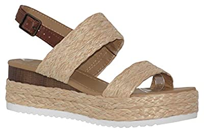 MVE Shoes Women's Braide Espadrille Platform Adjustable Strap, Guava NAT Raffia 6.5