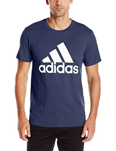 adidas Mens Badge of Sport Graphic Tee, Collegiate Navy/White, Large
