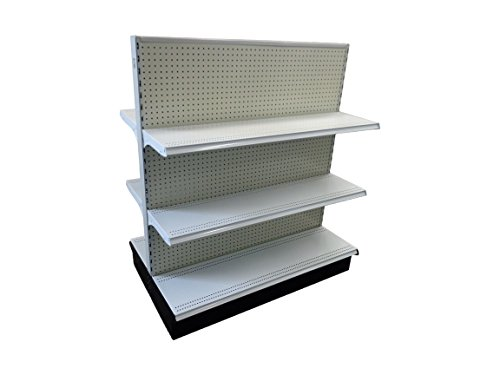 Shelving Gondola (COMPELET - Madix Shelving Gondola End Cap Units-Wood Pegboard Backing with bottom shelve and 2 upper shelves, 6