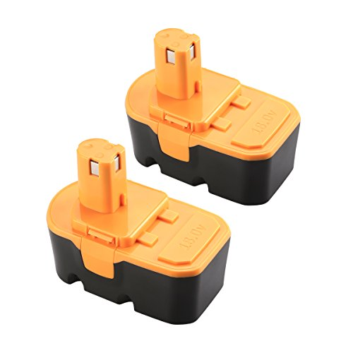 Powilling 2Packs 3.0Ah NiCd Battery Replace for Ryobi ONE+ 18V Battery P100 P101 130224028 130224007 130255004 ABP1801 ABP1803 High Capacity Cordless Power Tools