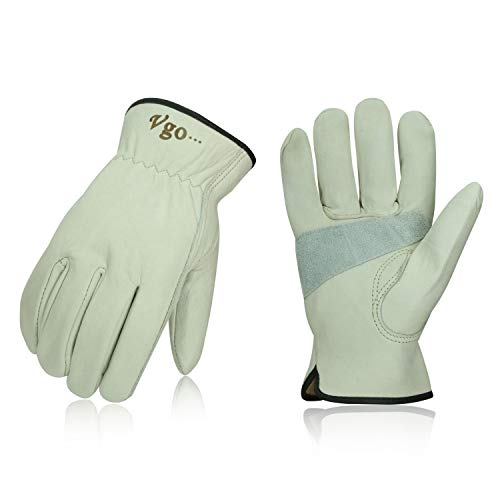 Vgo 3Pairs Unlined Cow Grain Leather Work and Driver Gloves with Cow Split Leather Palm Patch(Size L,Light Cyan,CA9590) ()