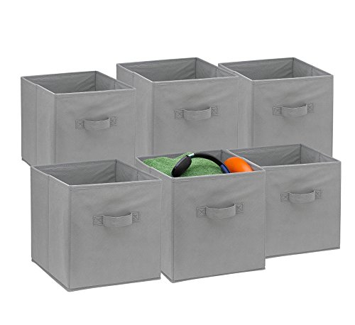 Foldable Cube Storage Bins - 6 Pack - These Decorative Fabric Storage Cubes are Collapsible and Great Organizer for Shelf, Closet or Underbed. Convenient for Clothes or Kids Toy Storage Unit (Grey)
