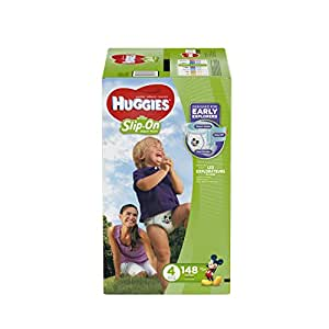 HUGGIES Little Movers Slip On Diaper Pants, Size 4, 148 Count, ECONOMY PLUS (Packaging May Vary)