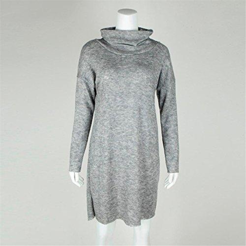 Gris ❤️ Otoño Longra Vestido chaqueta Mujeres Invierno larga casual Mujer jersey suéteres de Manga 5gqXUw6XO