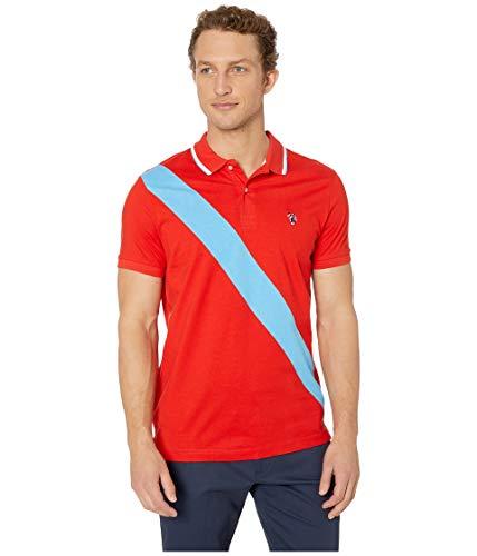 (U.S. Polo Assn. Men's Diagonal Stripe Color Block Jersey Polo Shirt, Crimson fire,)