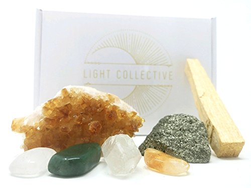 THE POWER OF PLENTY Healing Crystals For Abundance / 7 Piece Crystal Set Includes Citrine Cluster, Clear Quartz Point, Guidance, Palo Santo For Manifesting, Meditation, Spirituality, Reiki, Rituals