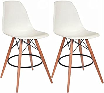 mod made mid century modern armless paris tower barstool chair with natural wood legs for bar