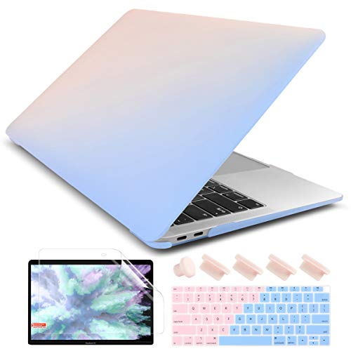 Dongke Smooth Matte Frosted Hard Shell Cover for MacBook Air 13 Inch with Retina Display fits Touch ID, Air 13 Inch Case 2020 2019 2018 Release Model: M1 A2337/A2179/A1932 (Frost Solid Pink to Blue)