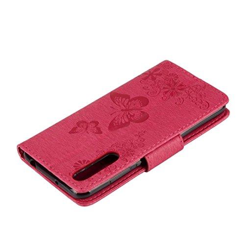 Huawei P Silicona Mariposa Rosado Cuero Protector Carcasa Tarjetas Billetera Tapa Funda Para Ranura púrpura Tpu Suave Flip Carcasa Smart Tira Cover Piel Magnética Con Ougger PwxnEtS16S