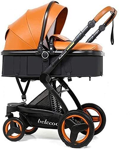 Portable Lightweight Baby Stroller Portable Baby Carriage Stroller Stroller Pram, Travel System, Pushchair 3 in 1 Set with Baby Seat, Infant Pram Stroller, Harness And High Storage Basket, PU Leather,