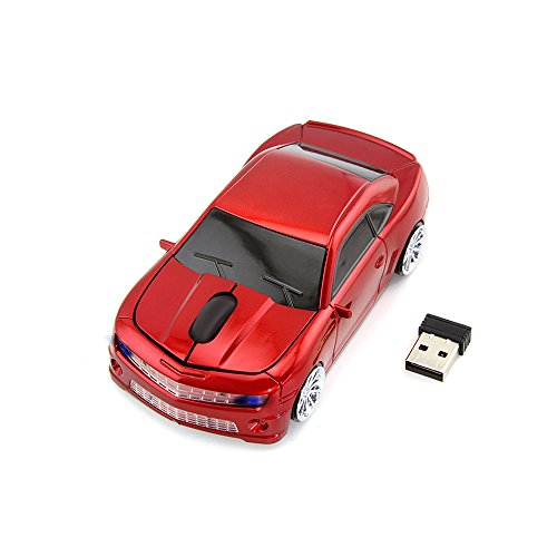 Sport Car Shape 2.4Ghz Wireless Mouse Optical Gaming Mouse Cool Mice with USB Receiver for PC Laptop Computer, 3 Button 1600DPI (Red)