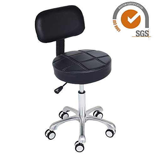 CoVibrant Modern Hydraulic Rolling Adjustable Stool with Back Large Seat for Home Kitchen Office Desk Salon Esthetician Work