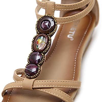 Dizadec Wedge Sandals for Women, Women Fashion Sandals Sweet Beaded Clip Toe Flats Bohemian Herringbone Sandals: Clothing