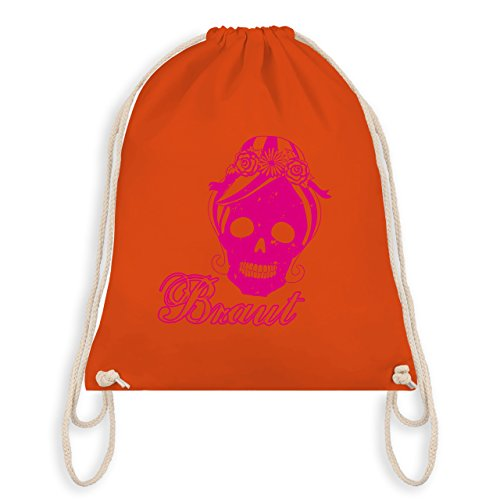 JGA Junggesellinnenabschied - Braut Totenkopf Vintage - Turnbeutel I Gym Bag Orange 9frB5aRO6C