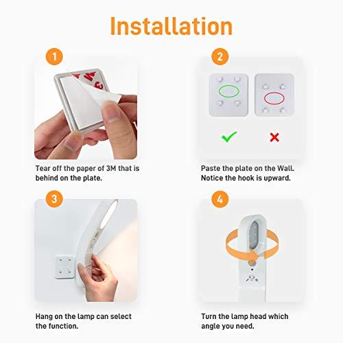 Microwear LED Nachtlicht mit Bewegungsmelder Innen Batterie USB Rechargeable, Drehbar Kinder Nachtlicht für Schrank Kinderzimmer Flur Schlafzimmer Küche Garderobe Garage(Warmweiß)