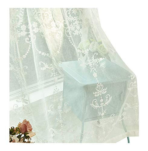 - Simbra French Rural Style Elegant Pattern Embroidered Sheer Curtains Draperies Rod Pocket Home Treatments for Sitting Room Kitchen and Children Room (1 Panel, W 50 x L 95 inch, White)