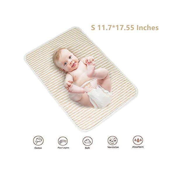 MOONMU 4-Layer Waterproof Baby Changing Pad,Waterproof Reusable Washable Bed Pads,100% Natural Colored Cotton Waterproof Sheet,Baby Crib Pee Pads Or Incontinence Bed Pad (S)
