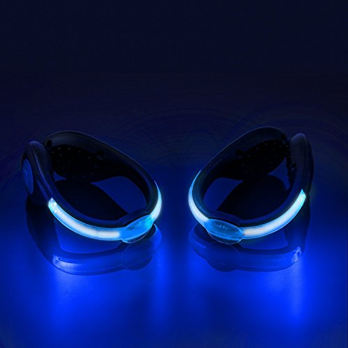 SLDHR LED Shoes Clip Lights USB charging for Night Running Gear, Color Changing RGB Strobe and Steady Color Flash Mode, Safety Clip Lights for Running, Jogging, Walking, Biking(One Pair) (blue)]()
