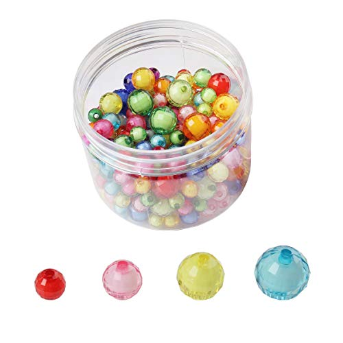 Assorted Color Transparent Acrylic Beads Faceted Round Spacer Beads 8 mm, 10 mm 12mm and 14 mm (32gmyz) ()