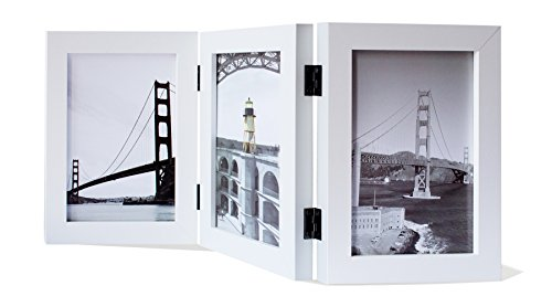 Frametory, 5x7 Inch Hinged Picture Frame with Glass Front - Made to Display THREE 5x7 Inch Pictures, Stands Vertically on Desktop or Table Top (5x7 Triple, White)