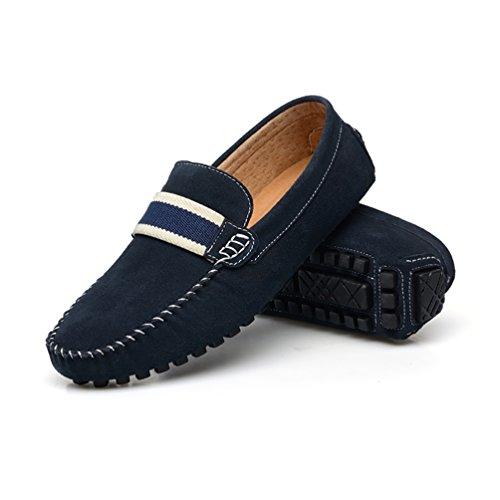 Baymate Hombres Raya Mocasines Antideslizante Zapatos de Conducción Zapatos Casuales Zafiro