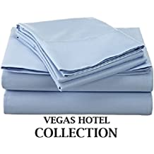 """VEGAS HOTEL COLLECTION Bed Sheets New Collection - 100% Egyptian Cotton 400 Thread Count 4 Piece { Light Blue, Solid } Sheet Set Fits Up to 7-9 Inch Sofa Cum Bed ( Short Queen 60"""" x 75"""" )"""