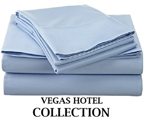 Vegas Sofa Collection (VEGAS HOTEL COLLECTION Bed Sheets New Collection - 100% Egyptian Cotton 400 Thread Count 4 Piece { Light Blue, Solid } Sheet Set Fits Up to 7-9 Inch Sofa Cum Bed ( Short Queen 60