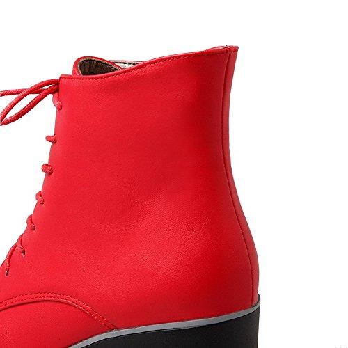 Agoolar Rouge Femmes Matériau Souple Bout Lacées Des Haut À Hauts Talons Fermé Bottes Rond Bas qIwx6tSI