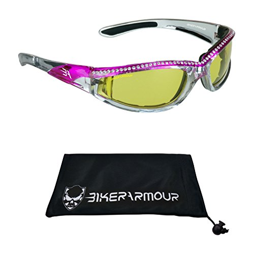 are Mirrored Motorcycle Sunglasses with Rhinestones Foam Padded for Women (Yellow Pink) (Deluxe Womens Helmet)