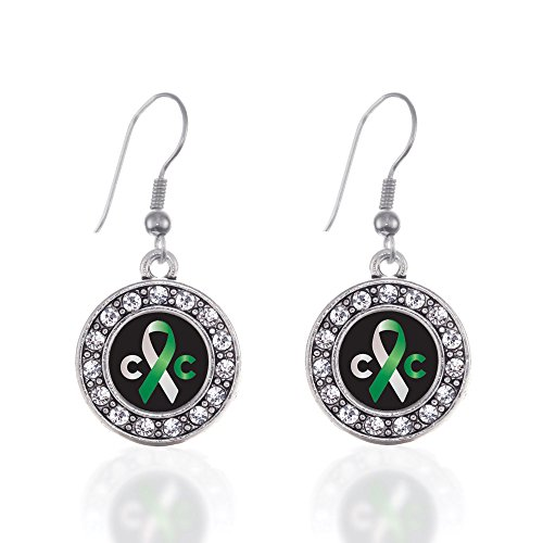 Inspired Silver - Cervical Cancer Support Charm Earrings for Women - Silver Circle Charm French Hook Drop Earrings with Cubic Zirconia Jewelry ()